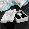 New 1Pc Present Christmas Gift Boxes Paper Rectangle Jewelry Pendant Ring Necklace Earrings Bracelet Dot Storage Box