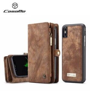 Image 1 - CaseMe lüks deri manyetik 2in1 deri kılıf iPhone12 Pro Max X 8 8 artı 7 7 artı 6 6s artı fermuar çevirme çanta cüzdan kılıf