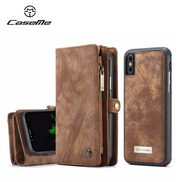CaseMe lüks deri manyetik 2in1 deri kılıf iPhone12 Pro Max X 8 8 artı 7 7 artı 6 6s artı fermuar çevirme çanta cüzdan kılıf