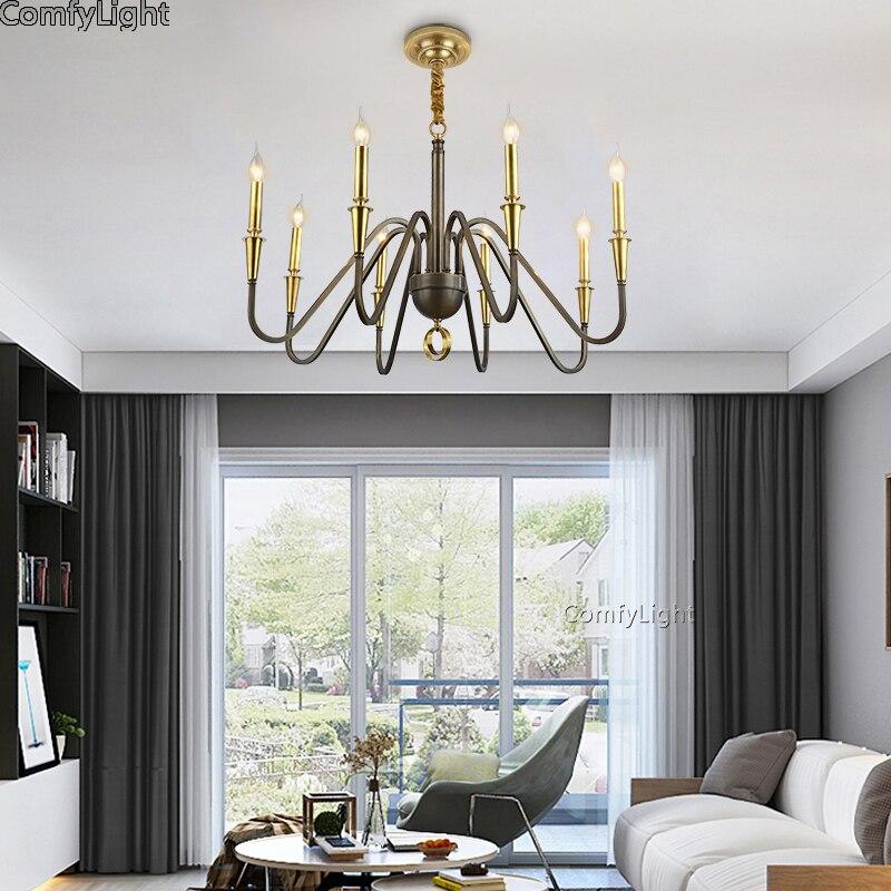Luxury Golden candle Chandeliers Living Room lustres de Brass Decoration Pendants LED Chandeliers Home Lighting Indoor Lamp E14