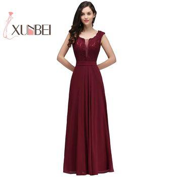 Robe de fille d'honneur A Line Burgundy Bridesmaid Dresses Long Chiffon Lace Applique Cheap Prom Dresses Party Gowns
