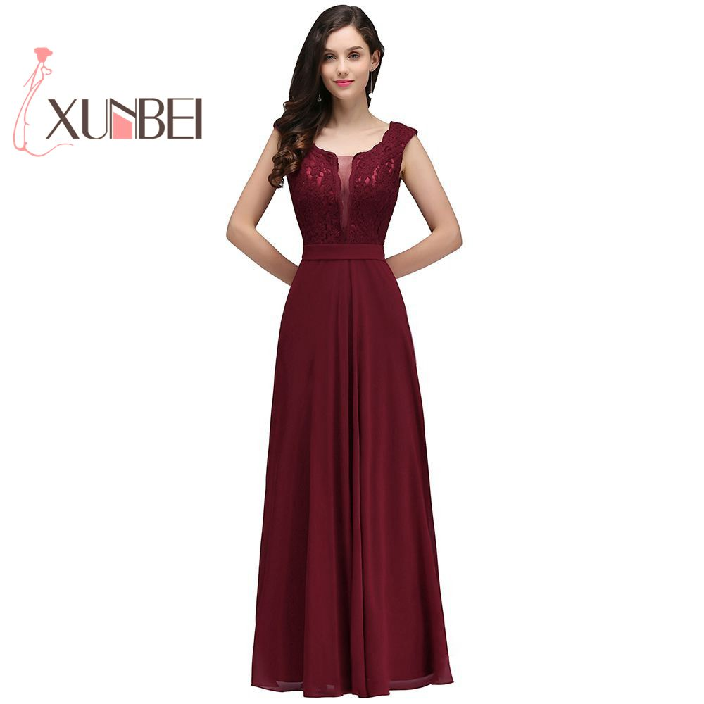 Robe de fille d'honneur A Line Burgundy   Bridesmaid     Dresses   Long 2017 Chiffon Lace Applique Cheap Prom   Dresses   Party Gowns