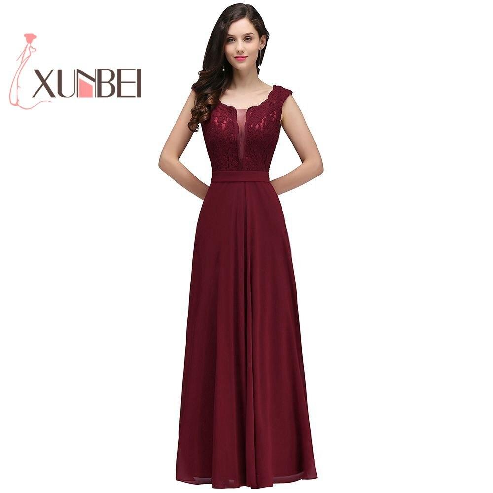 Robe de fille d'honneur une ligne bordeaux robes de demoiselle d'honneur longue 2019 mousseline de soie dentelle Applique pas cher robes de bal robes de soirée