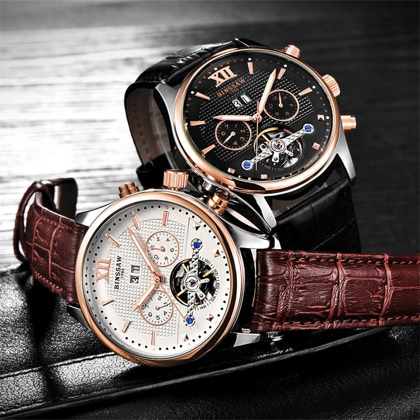 Binssaw Topmærke Luksus Mekaniske Armbåndsure til Mænd Natural Cow - Mænds ure - Foto 3