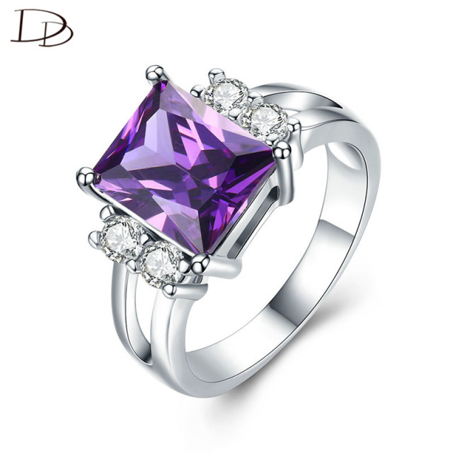 High Quality AAA Square Purple Stone 925 Sterling Silver Rings For Women Gorgeou