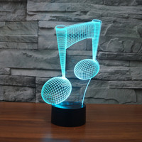 3343 Music Note Score Musical Notation 3D LED Lamp Atmosphere Lamp 7 Color Changing Visual Illusion