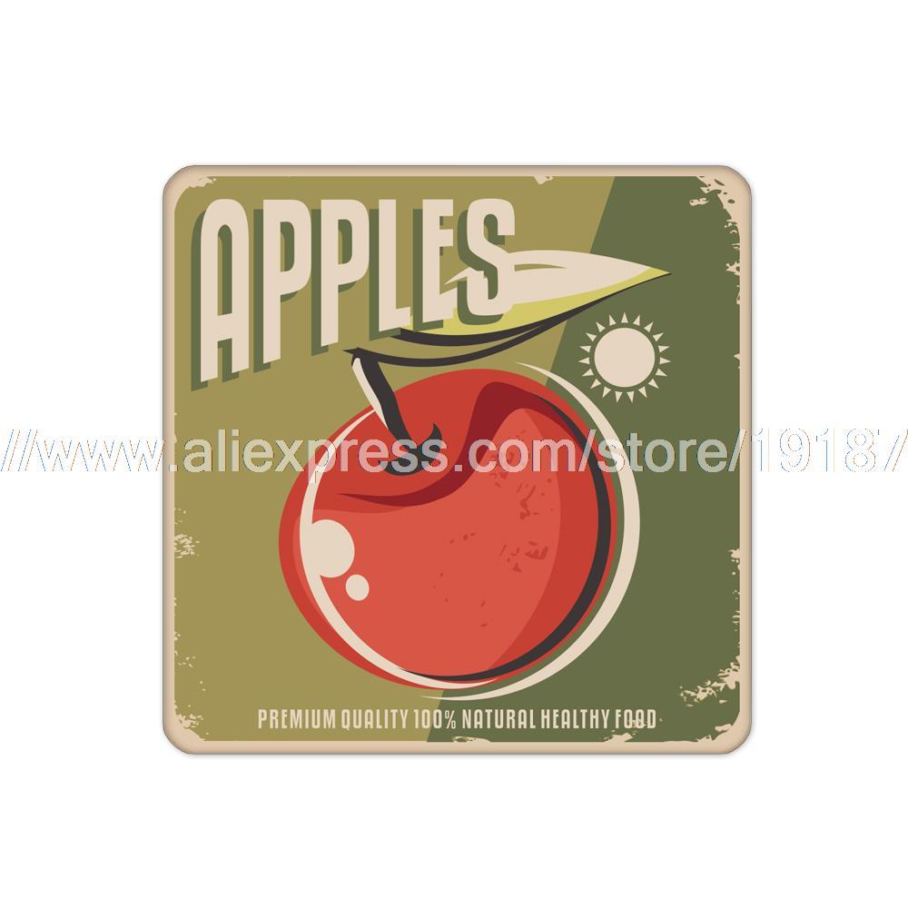 4pcs/set Fruit apple printed custom Home Table Mat Bakery Creative Decor Wholesale Drink Placemat cork cup coaster