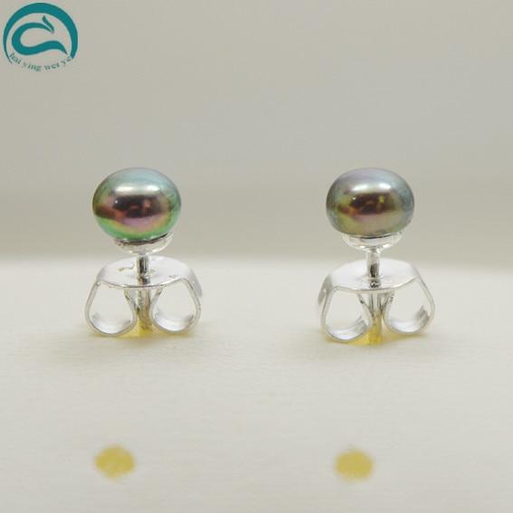 Nouveau Arriver Véritable Bijoux En Perles, parfait 4-5mm Paon Bleu Perle D'eau Douce Filles Enfants Bébé Classique Goujon De Mode Boucle D'oreille