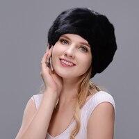 JERYAFUR 2017 Russian hat style cloak real mink fur hat black bare hat woman winter warm hat protection ear brown