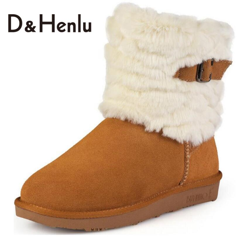 ФОТО {D&H}  Winter Buckle Genuine Leather Snow Boots Womens Australian Brand Designer Mid-Calf Boots Warm Plush Boots Shoes Woman