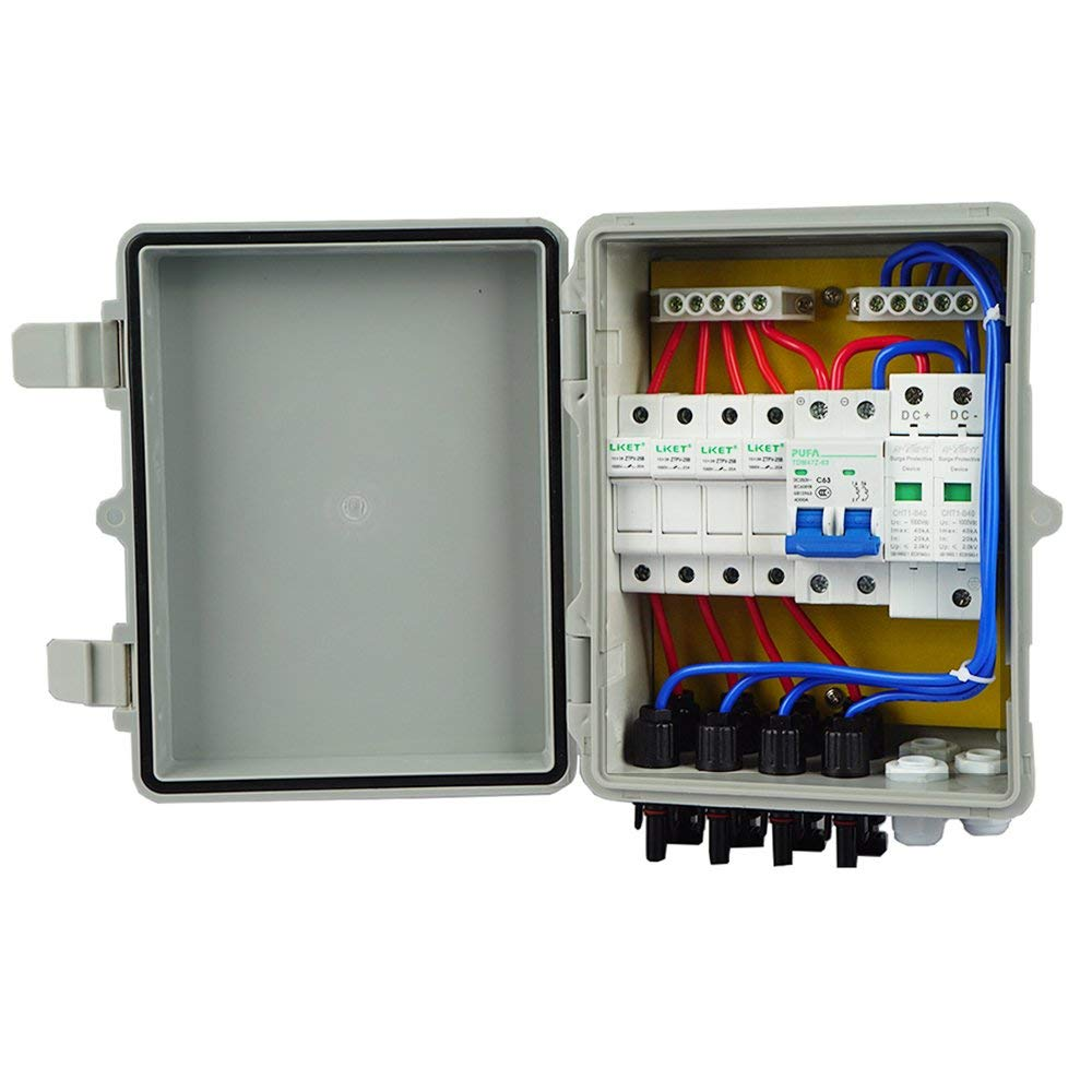 4 String PV Combiner Box with Lighting Arrester 10A Rated Current Universal Solar Panel Connectors for