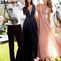 BeAvant Sexy pleated maxi evening party dress women V neck plus size female long lace dress Elegant ladies pink summer vestidos