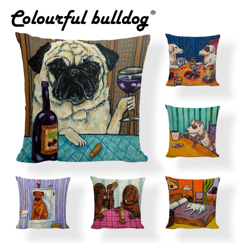 New Cushion Cover Dog Pugs Printied Linen Throw Pillow Husky Bathing Animals Pillows Cover Car Sofa Home Pillowcase Decorative