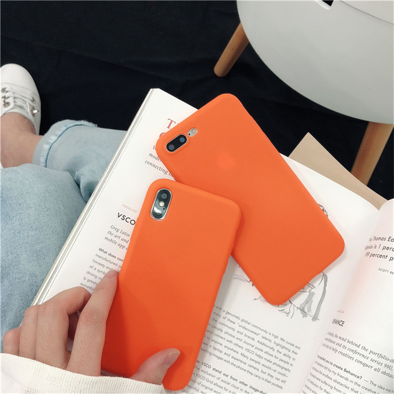 Cute Bright Orange Color Cover <font><b>Phone</b></font> Shell For <font><b>Samsung</b></font> Galaxy S10 S9 S8 <font><b>S7</b></font> Plus Edge Note 8 9 Matte <font><b>Case</b></font> Soft Silicone Back Capa image