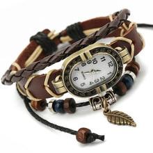 Gnova Platinum Top Genuine Leather Bracelet Watch Women Charm Leaf Butterfly Ethnic Geneva Style Urban Girl Fashion Dama A334