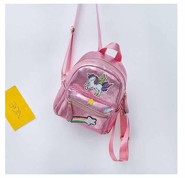 Милая блестящая вышивка мультяшный Единорог лазер из искусственной кожи для девочек сумка на плечо рюкзак Повседневная сумка для путешествий на молнии женская школьная сумка