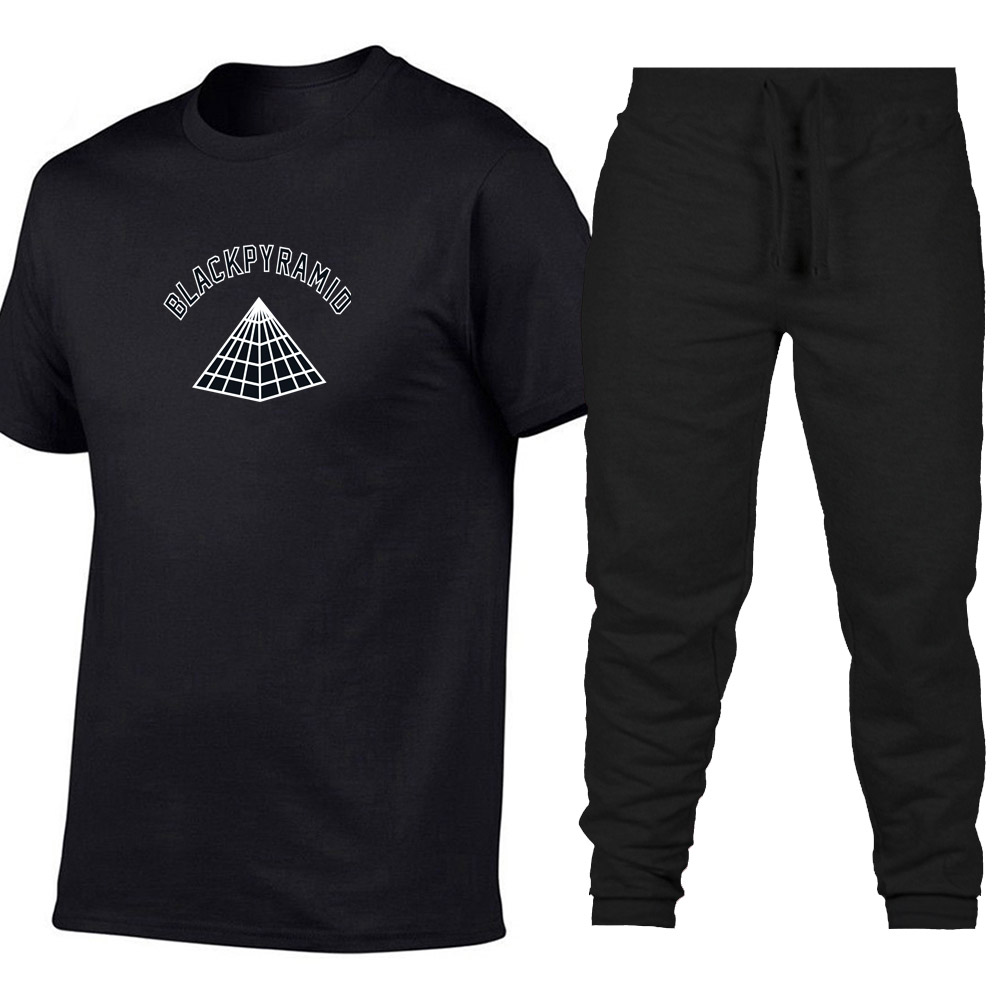 2019 Summer season New Black Pyramid cotton T Shirts+pants males Model Vogue tshirt clothes Two items tracksuit Informal T-shirts S-XXL T-Shirts, Low cost T-Shirts, 2019 Summer season New Black...