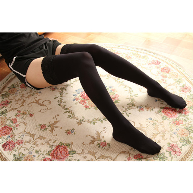 aa0252eae58 Sexy Women Fashion Ultrathin Lace Top Sheer Thigh High silicone Silk  Stockings Long medias sweet lolita stocking A578