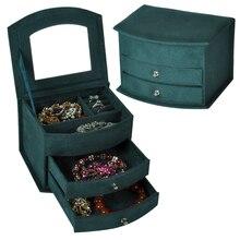 Heißer Verkauf Hohe Qualität Samt Drei Schichten Tragbare Multi funktionale Halskette Ringe Schmuck Boxen Mode Design Geschenke Box