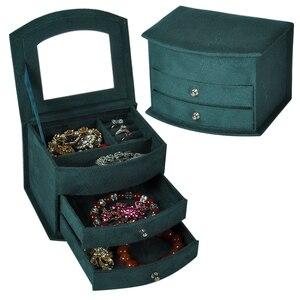 Image 1 - Sıcak satış yüksek kalite kadife üç kat taşınabilir çok fonksiyonlu kolye yüzük takı kutuları moda tasarım hediye kutusu