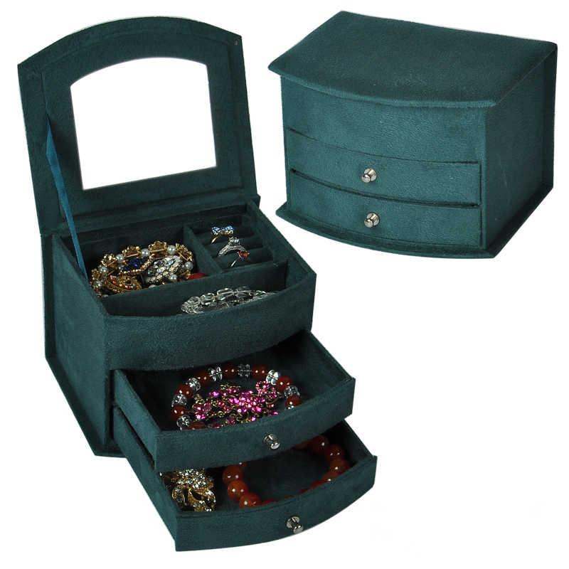 Vente chaude de haute qualité velours trois couches Portable multi-fonctionnel collier anneaux boîtes à bijoux Design de mode cadeaux boîte