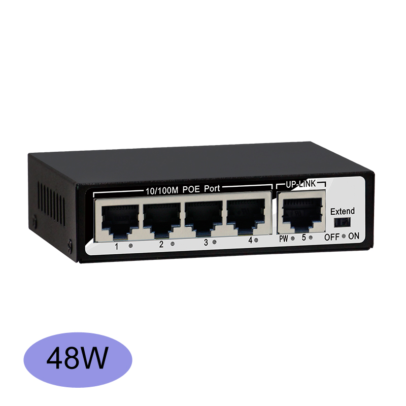 Desktop Cheap 4 Port Smart Poe Switch 48W 96W High-power Long POE Distance IEEE802.3af/at 48v Poe Power For All IP Camera System