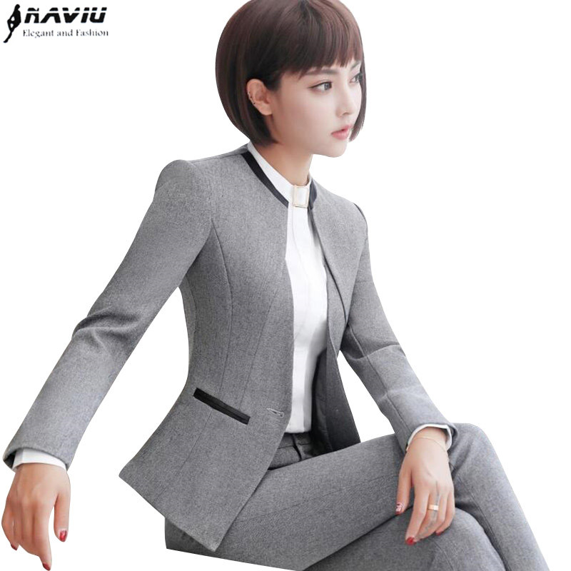 professional set women pant suits 2017 autumn temperament