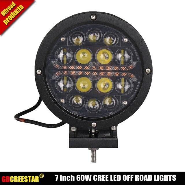 Round led driving lights black 12V 24V 60W led work lights with DRL amber lights For offroad 4x4 4wd SUV ATV x1pc