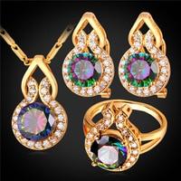 Mystic Topaz Zirconia Earrings Ring Pendant Necklace Set Platinum 18K Gold Plated Wedding Bridal Jewelry Set