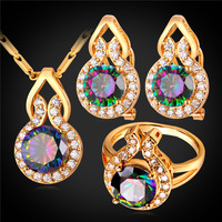 Mystic Topaz Zirconia Earrings Ring Pendant Necklace Set Platinum 18K Gold Plated Wedding Bridal Jewelry Set