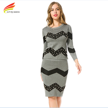 European 2016 Winter Gray Beading Sweater Knitted Skirt Outfit 2 Piece Set Women Long Sleeve Knitting Pullover Suit