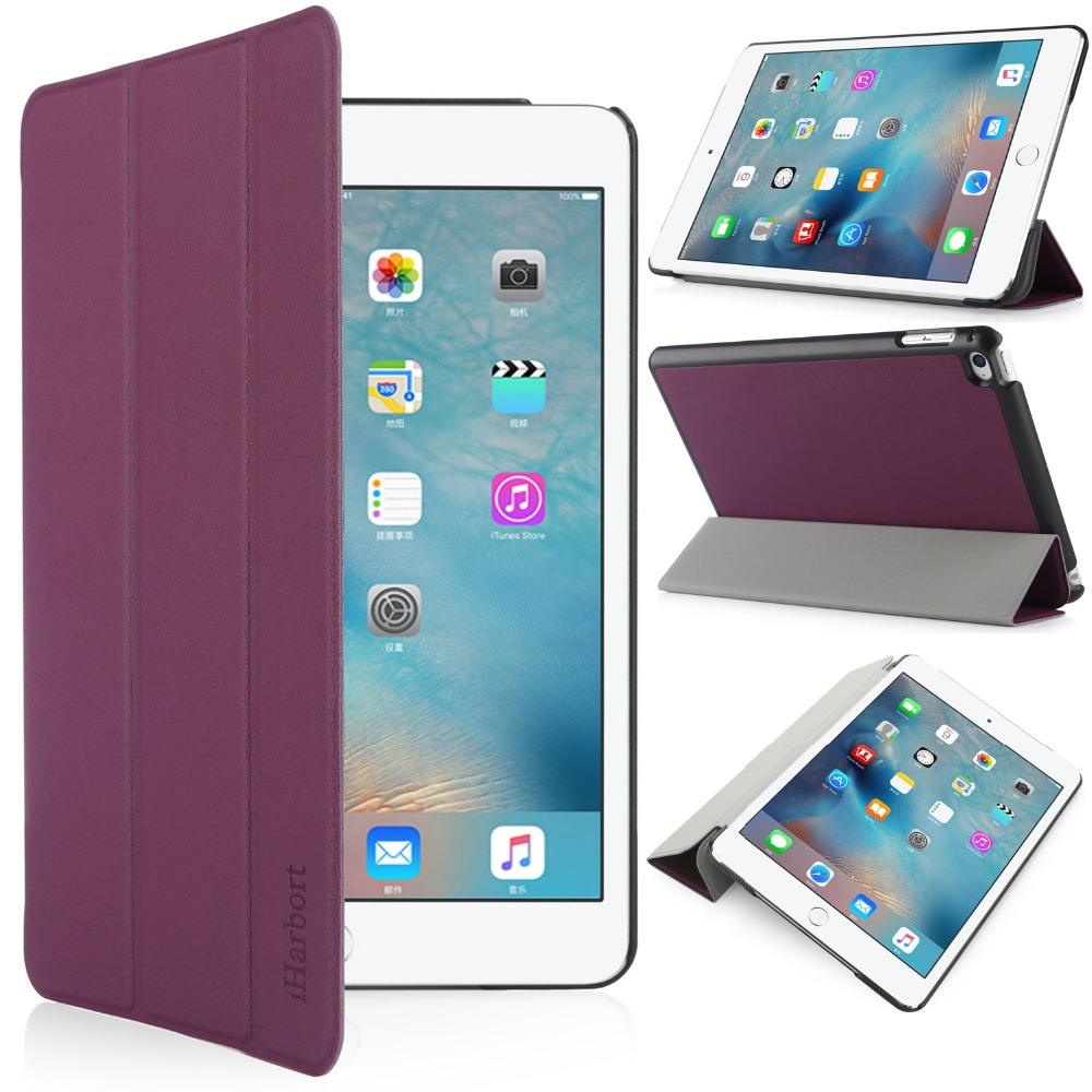Stand Case for iPad mini 4, iHarbort PU Leather Case smart Cover with Multi-Angles holder With Sleep/ Wake Up Function