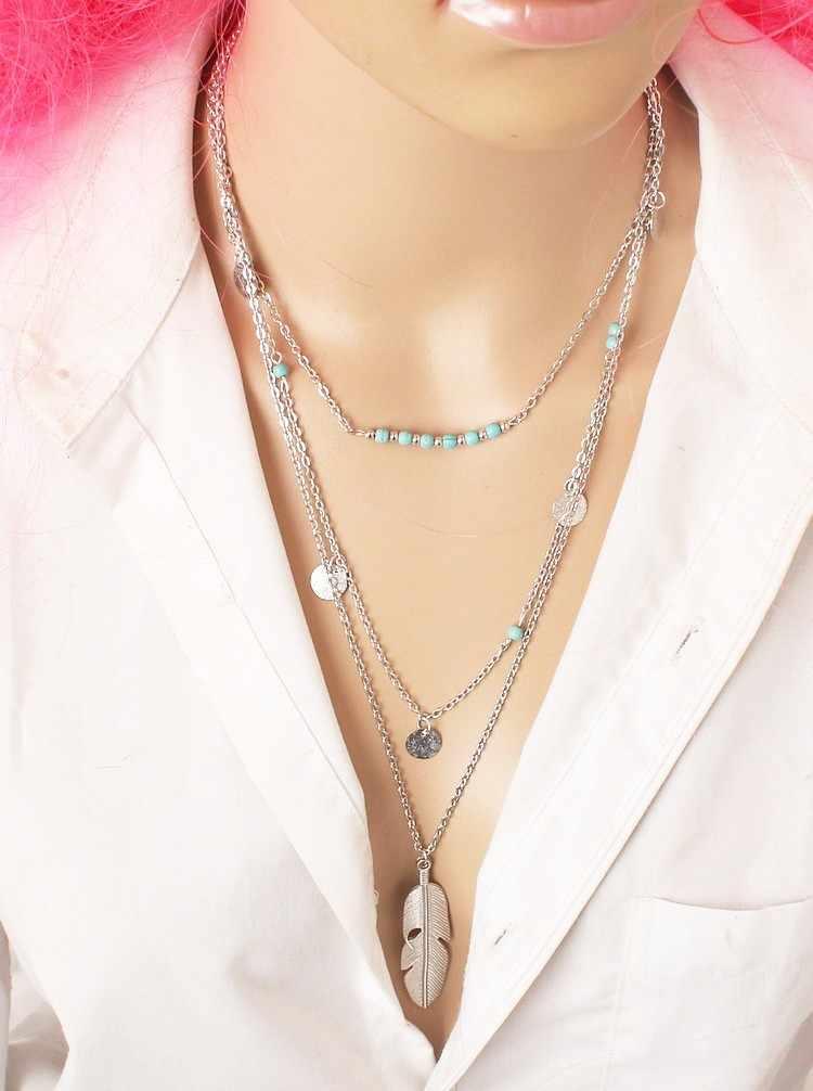 2019 nova moda quente redonda lantejoulas penas folhas longa multicamadas colar boêmio frisado gargantilhas colares para jóias femininas