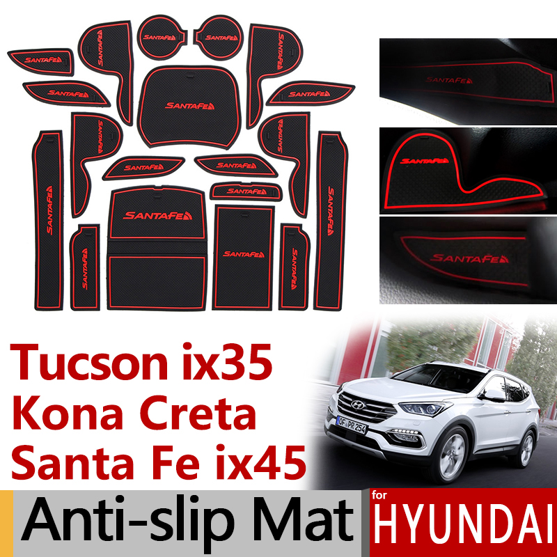 Anti-Slip Rubber Gate Slot Cup Mat for <font><b>Hyundai</b></font> Tucson ix35 Kona Creta ix25 <font><b>Santa</b></font> <font><b>Fe</b></font> ix45 Santafe TL LM DM <font><b>Accessories</b></font> Stickers image