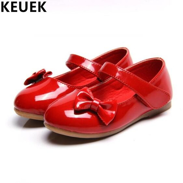 8656e5bb6be2 NEW Girls Patent Leather Princess Shoes Children Student Bowtie Antiskid Flats  Kids White Dance Shoes Baby Casual 02