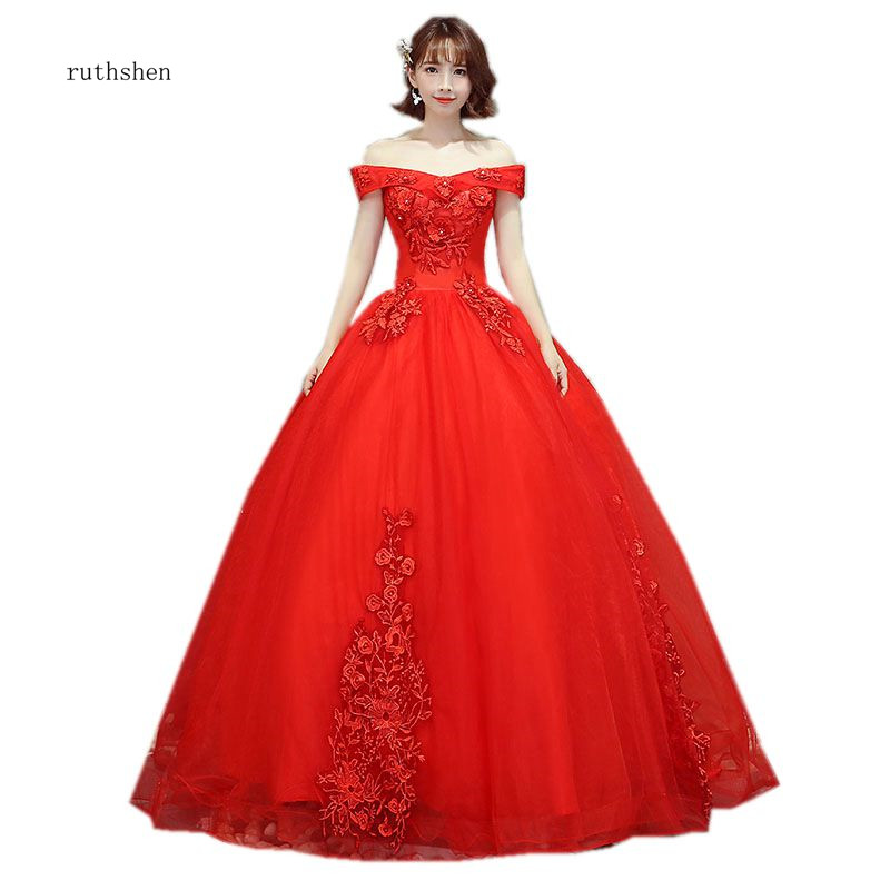 ruthshen 2018 New Hot Sell Red Quinceanera Dresses Off The Shoulder Appliques Beading Prom Dress Puffy