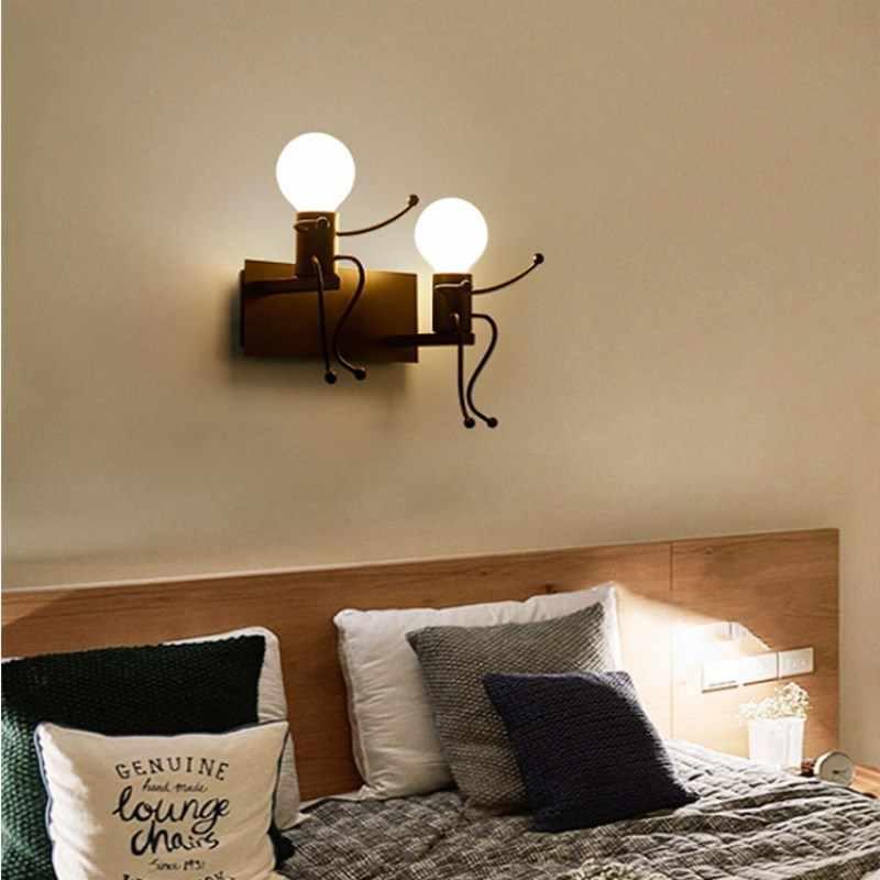 Ретро украшение железная стена свет источник света двойной черный/белый прохода свет стеновой в коридоре украшение дома освещение приспособление