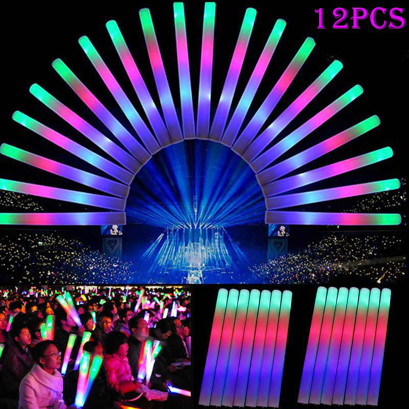 12pcs Light Up Multi Color LED Foam Stick Wands Rally Rave Cheer Batons Party Flashing Glow Stick Light Sticks 88 YJS Dr