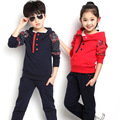 2015 new boys girls clothiong sets teenage clothing kids clothes hoodies+pants cotton 2 color age 4-13