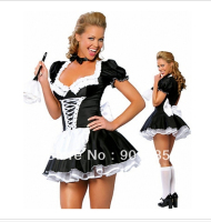 Plus Size Women Sexy Lingerie Sexy Late Nite French Maid Costume Servant Cosplay Sexy Women Dress