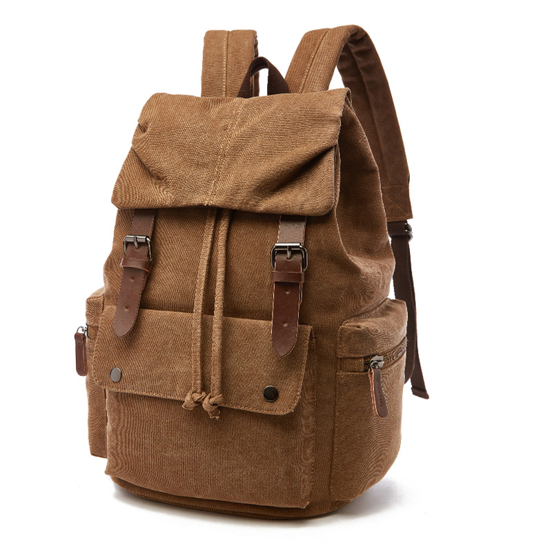 2018 New Unisex Rucksack Casual Canvas Travel Bags Vintage Leather Military Shoulder Bags Men Women Backpack School bag backpack 2016 new fashion rucksack school shoulder bag unisex boys girls canvas students backpack casual women shoulder bag