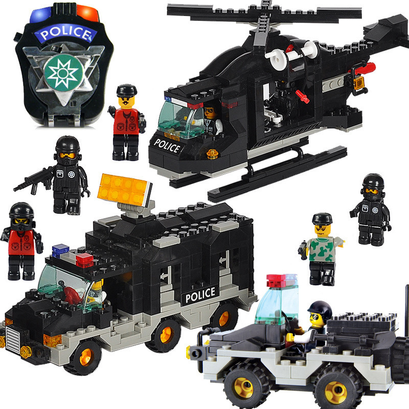 Model building kits compatible with lego city police Riot police 3D blocks Educational model building toys hobbies for children