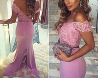 Elegant Cap Sleeve Chiffon Long Lace Mermaid 2018 robe de soiree vestido de noiva longo Long Prom party gown Bridesmaid Dresses