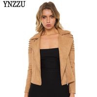YNZZU New Fashion Women Suede Leather Jacket Autumn Winter Brown Slim Zipper Cool Motorcycle Faux Leather