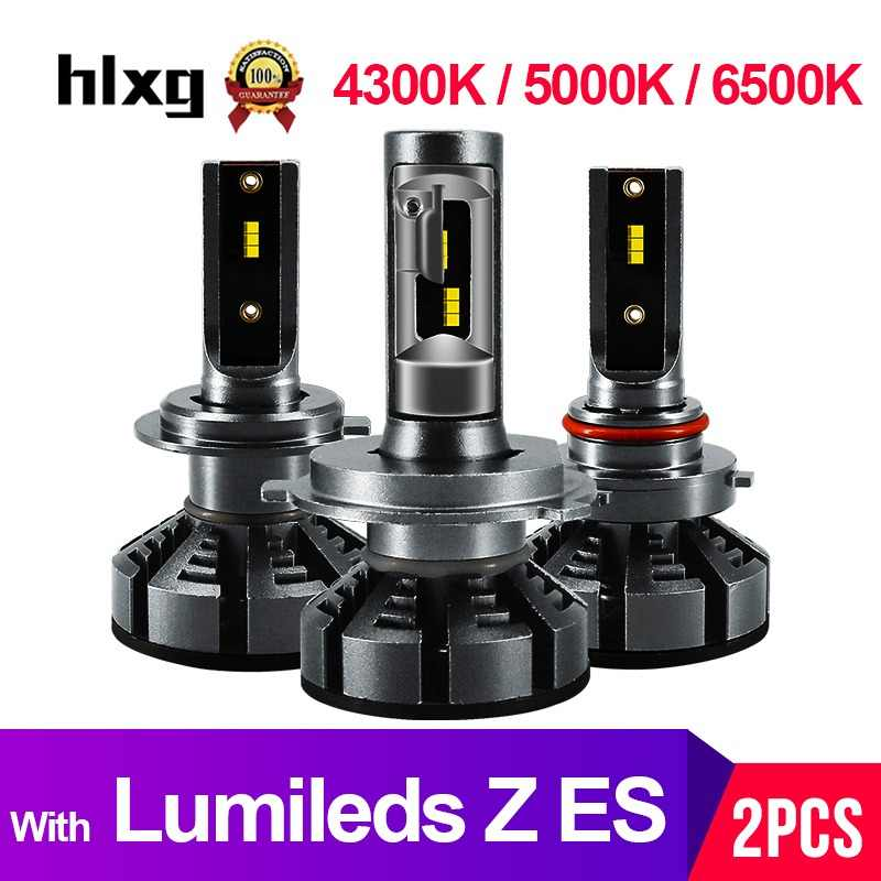 HLXG H7 Led H4 With Lumileds Luxeon ZES Chips Car Headlight Bulbs H1 LED H11 H8 HB3 9005 HB4 Lamp 6500K 4300K 5000K 12V 12000LM