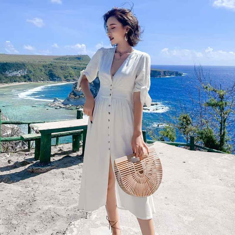 2019 летние женские платья Boho богемные с коротким рукавом Миди праздничные пляжные расклешенные белые длинные платья для женщин женские