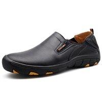 New Leather Trekking Boots Waterproof For Men Slip On Mountain Hiking Shoes Black Trekking Sneakers Men