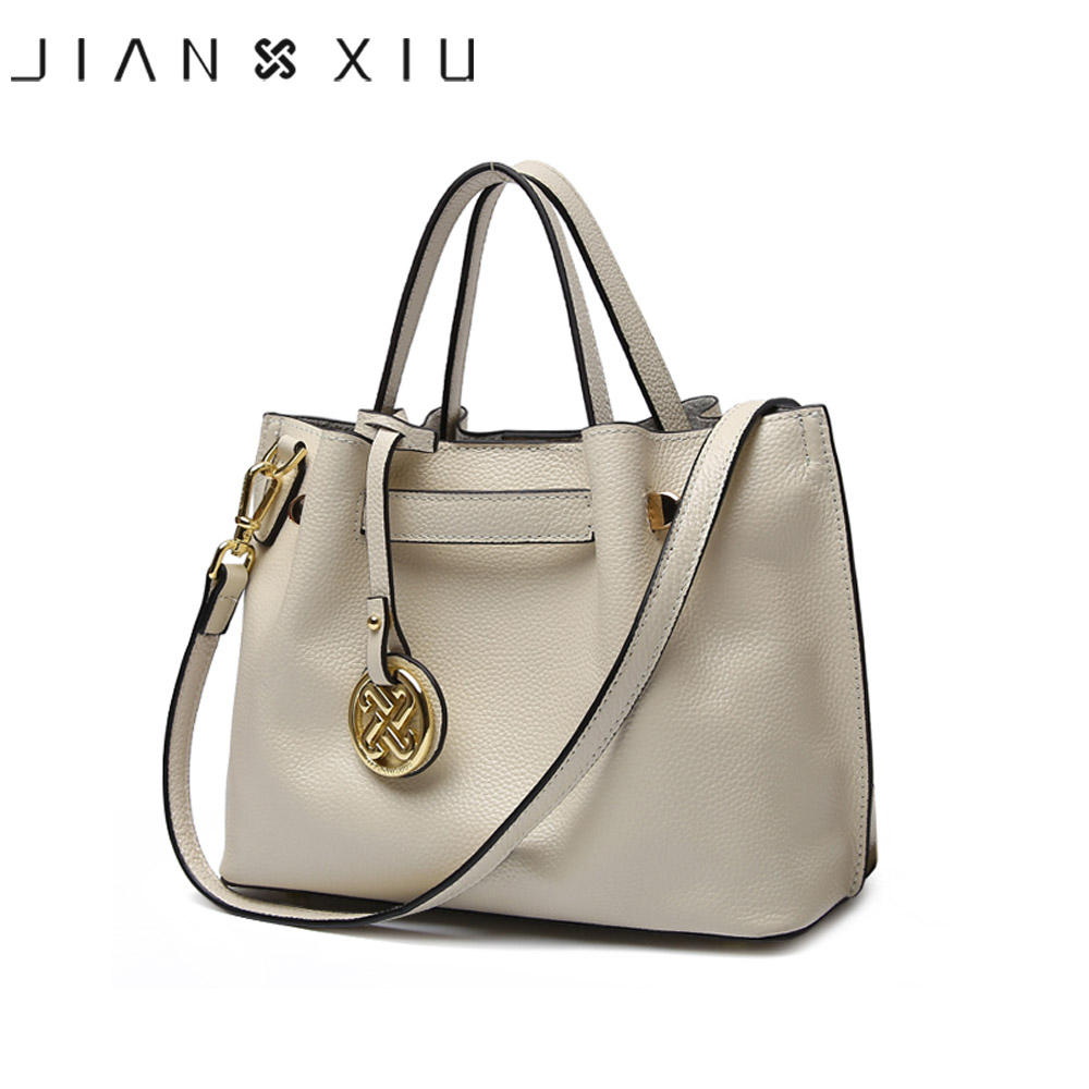JIANXIU Brand Genuine Leather Bag Luxury Handbags Women Bags Designer Handbag Sac a Main 2 Solid Color 2017 Tassel Tote Handbag