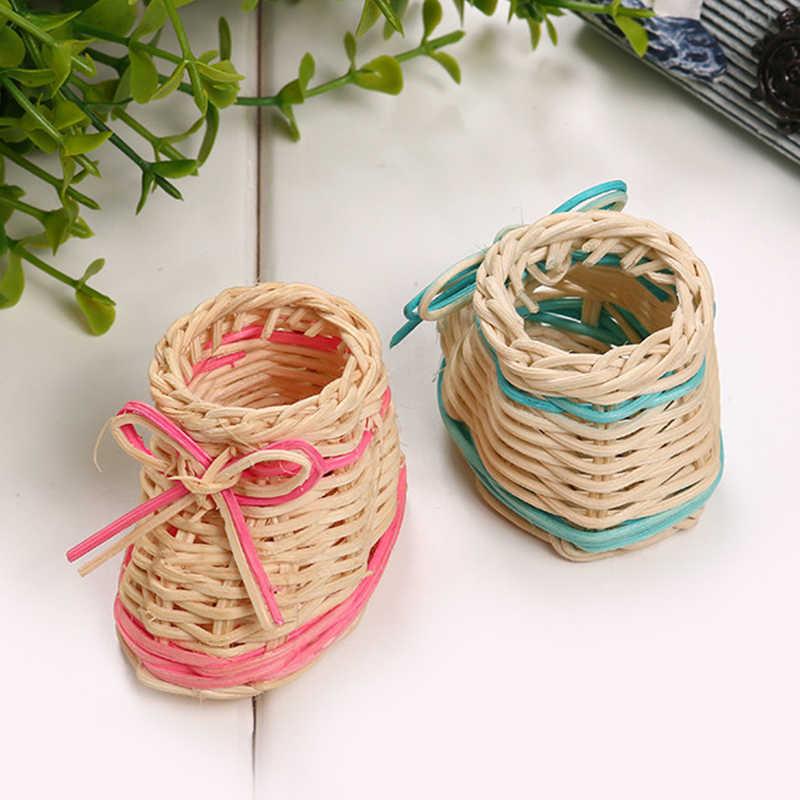 1 pcs Bonito Rosa Azul Cor de Palha Cesta de Flores Secas Vaso de Mesa Com Função de Armazenamento De Sapato Decoração de Festa Em Casa