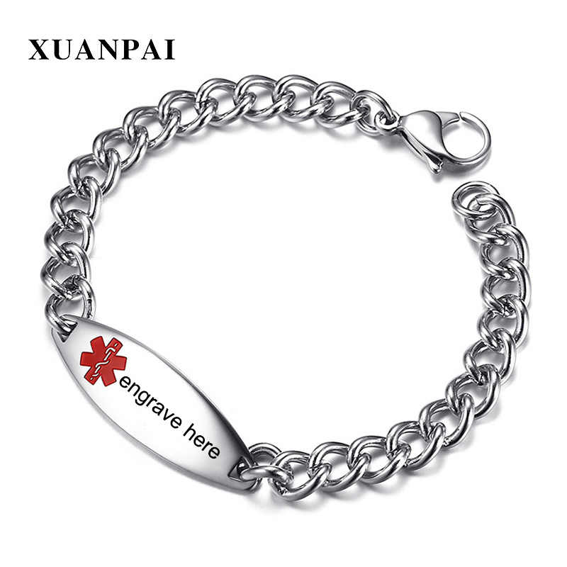 XUANPAI Free Engraving Laser Medical Alert ID Bracelets for Women Men Stainless Steel Emergency Tag Unisex Jewelry Bijoux